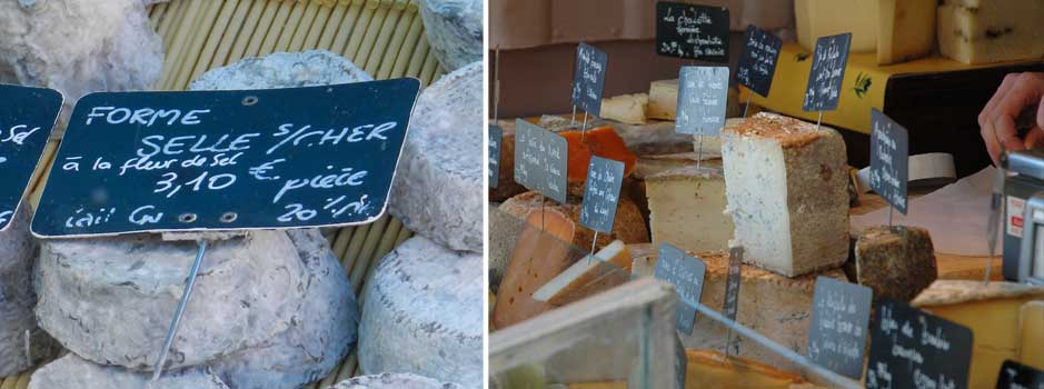 Shop for local cheeses at a village market.